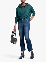Hush Willow Cropped Flare Jeans Blue Denim