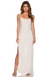 Monrow Palm Print Side Slit Rayon Slip Dress Cream