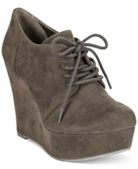 Material Girl Danity Lace Up Platform Wedge Booties Women's Shoes Grey