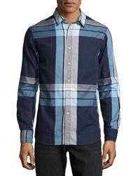 Howe Wide Plaid Poplin Sport Shirt Military Blue