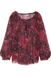 Iro Arzela Printed Silk Chiffon Blouse Red