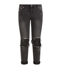 One Teaspoon Baggy Hole Knee Jeans Female Black