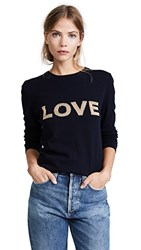Chinti And Parker Shiny Love Sweater Navy Gold Lurex