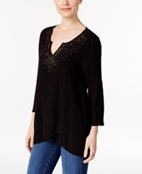 Jm Collection Petite Asymmetrical Crinkle Tunic Only At Macy's Deep Black