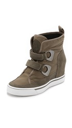 Dkny Chamoix Wedge Booties Dark Desert