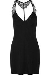 Cosabella Cheyenne Lace Trimmed Jersey Chemise Black
