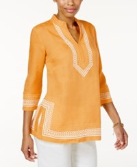 Charter Club Linen Embroidered Tunic Only At Macy's Tumeric