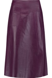 Raoul Leather Midi Skirt Purple