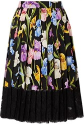 Dolce And Gabbana Lace Trimmed Pleated Floral Print Silk Blend Midi Skirt Black