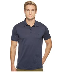 John Varvatos Matte Sheen Soft Collar Peace Polo With Peace Sign Chest Embroidery K1381t1b Indigo Men's Clothing Blue