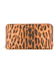 Sophie Hulme Leopard Print Zipped Wallet Women Leather One Size Brown