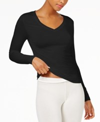 Cuddl Duds Softwear Long Sleeve V Neck Top Black
