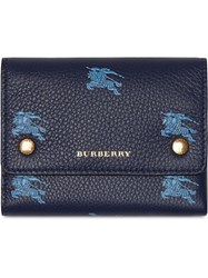 Burberry Small Ekd Leather Wallet Blue