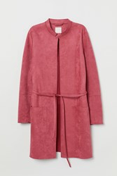 Handm H M Faux Suede Coat Red
