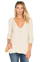525 America Rib V Neck Sweater Cream