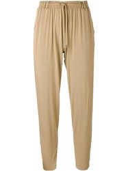 Plein Sud Jeans Drop Crotch Cropped Trousers Nude Neutrals