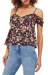 Topshop Women's Iris Print Off The Shoulder Camisole Burgundy Multi