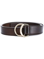 Santoni Ring Buckle Belt Men Leather M Brown