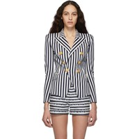 Balmain Blue And White Striped Double Breasted Blazer