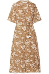 Faithfull The Brand Rivera Floral Print Crepe Wrap Dress Brown