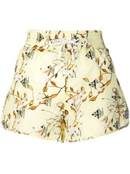Off White Cotton Flower Print Shorts Yellow