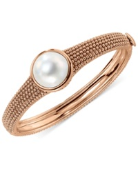 Bronzarte Cultured Freshwater Pearl Bangle Bracelet In 18K Rose Gold Over Bronze 15Mm