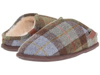 Bedroom Athletics William Harris Tweed Chocolate Green Check 1 Men's Slippers Brown