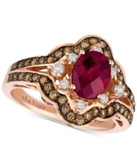 Le Vian Chocolatier Raspberry Rhodolite 1 1 3 Ct. T.W. And Diamond 3 4 Ct. T.W. Ring In 14K Rose Gold