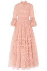 Costarellos Velvet Trimmed Ruffled Lace Gown Pink