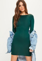 Missguided Green Jersey Bodycon Mini Dress