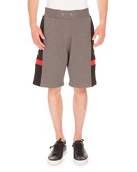 Givenchy Star Print Paneled Sweat Shorts Gray