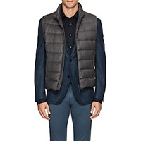 Moorer Oliver Down Quilted Wool Cashmere Vest Gray
