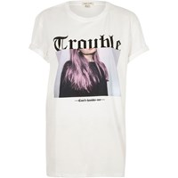 River Island Womens White Trouble Print Boyfriend T Shirt
