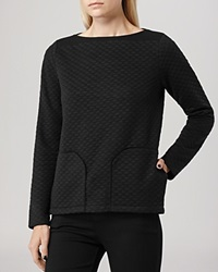 Reiss Sweatshirt Beanie Quilted Black