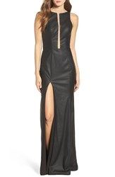 La Femme Women's Faux Leather Open Back Gown