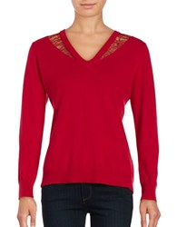 T Tahari Lace Trimmed V Neck Sweater Poppy