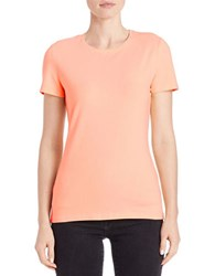Lord And Taylor Cotton Stretch Crewneck Tee Peach Fuzz