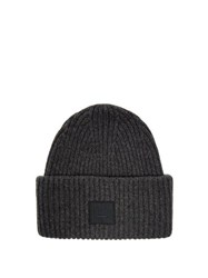 Acne Studios Pansy N Face Ribbed Knit Wool Beanie Hat Grey