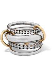 Spinelli Kilcollin Cassini Set Of Four 18 Karat Blackened And Yellow Gold And Sterling Silver Diamond Rings 6