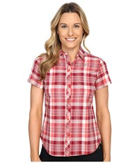 Woolrich Twin Lakes Shirt Hot Guava Women's Short Sleeve Button Up Red