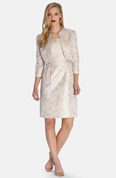 Petite Women's Tahari Metallic Jacquard Sheath Dress With Embellished Jacket
