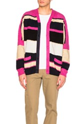 Sacai Stripe Knit Cardigan In Pink Stripes Pink Stripes