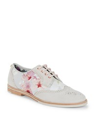 Ted Baker Allea Floral Wingtip Oxfords Chalk