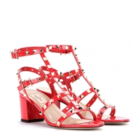 Valentino Rockstud Patent Leather Sandals Deep Orange