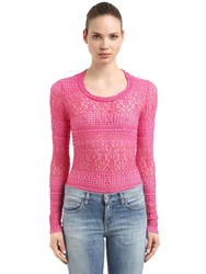 Isabel Marant Stretch Cotton Blend Lace Knit Sweater Pink