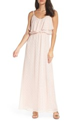 Charles Henry Popover Cami Maxi Dress Blush Gold Clip Dot