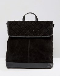 Asos Suede Woven Backpack Black