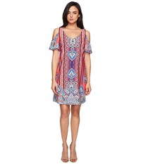 Christin Michaels Gowain Dress Coral Pink Blue Women's Dress