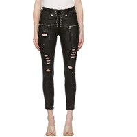 Unravel Black Distressed Leather Lace Up Trousers