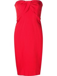 Zac Posen Strapless Fitted Dress Red